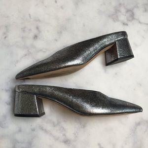 VINCE Ralston Crackle Silver Block Heel Mules